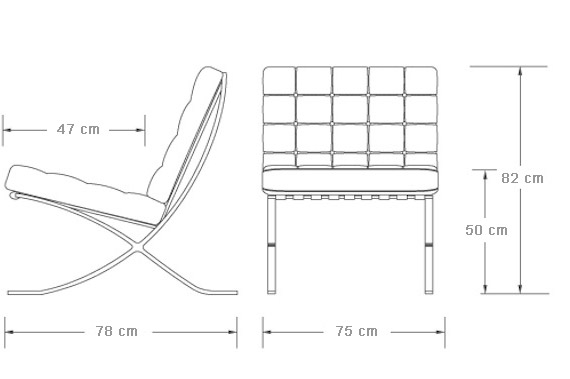 Barcelona Chair afmetingen